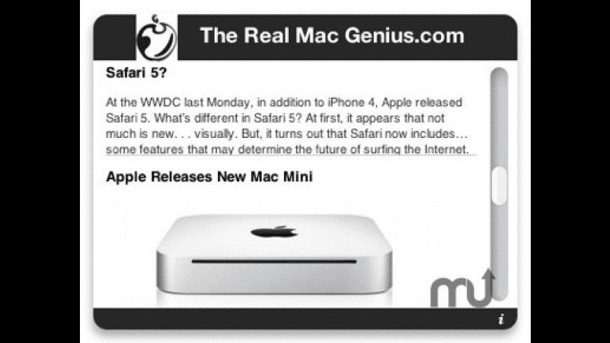 Real Mac Genius RSS Feed for Mac - review, screenshots