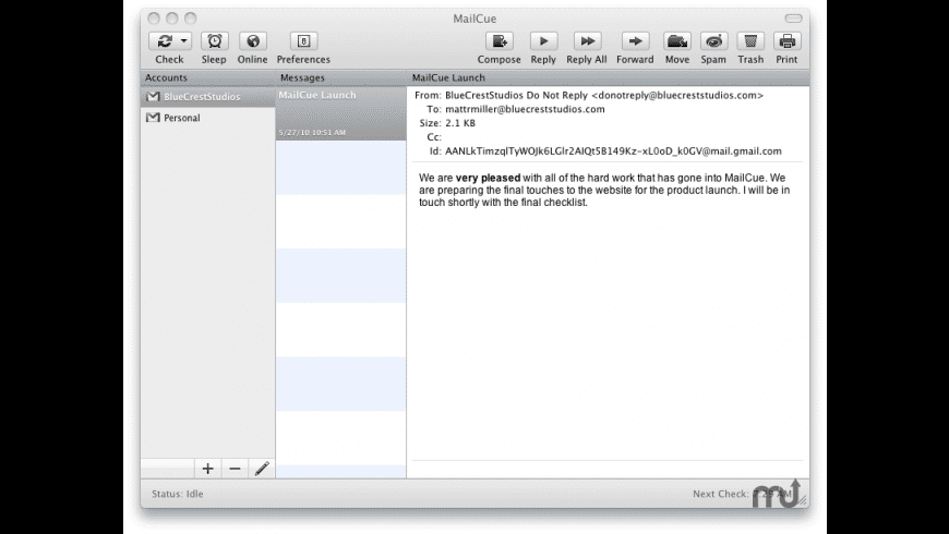 MailCue for Mac - review, screenshots