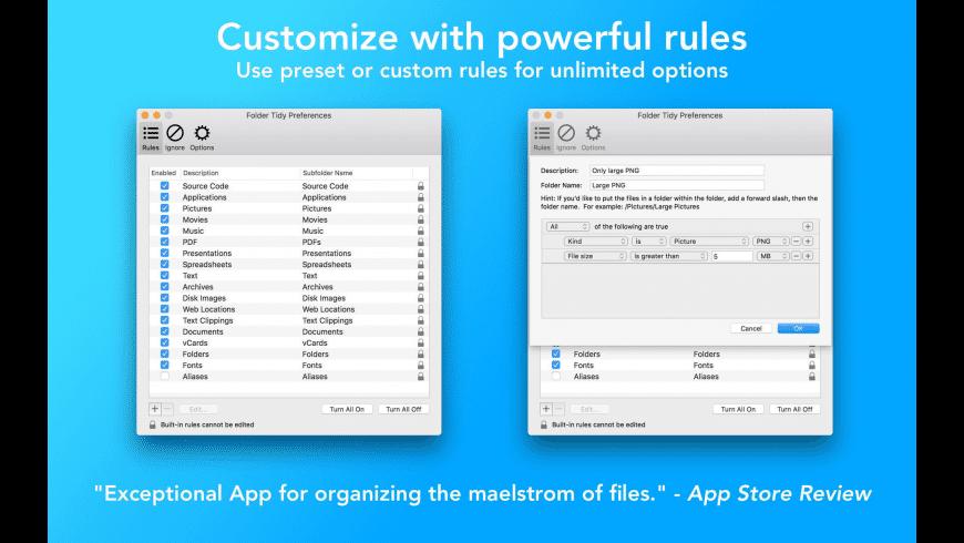 Folder Tidy for Mac - review, screenshots
