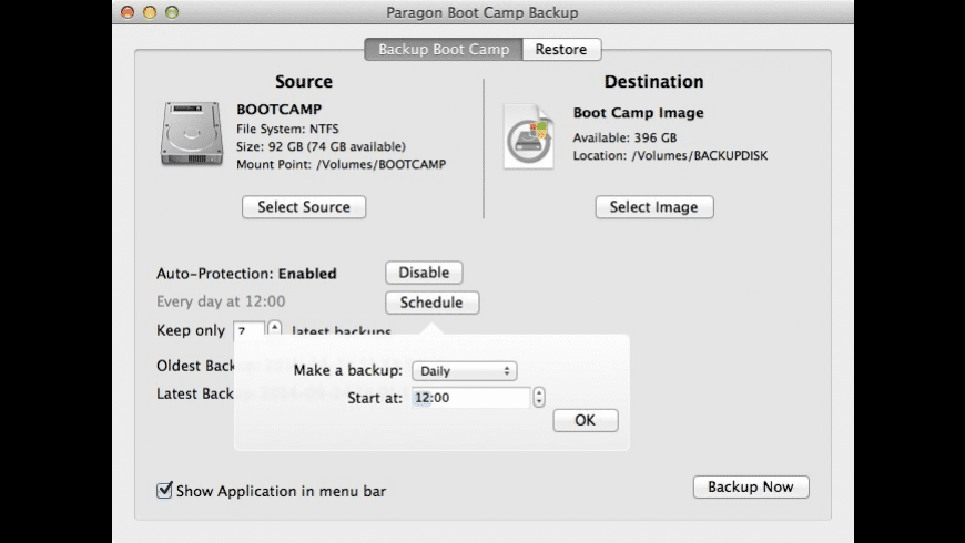 Boot Camp Backup for Mac - review, screenshots