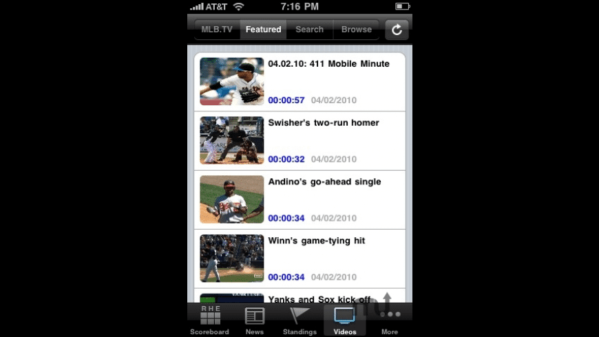 MLB.com At Bat 2010 for Mac - review, screenshots