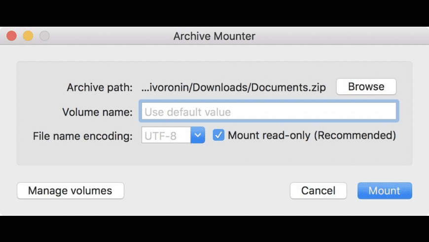 Archive Mounter for Mac - review, screenshots