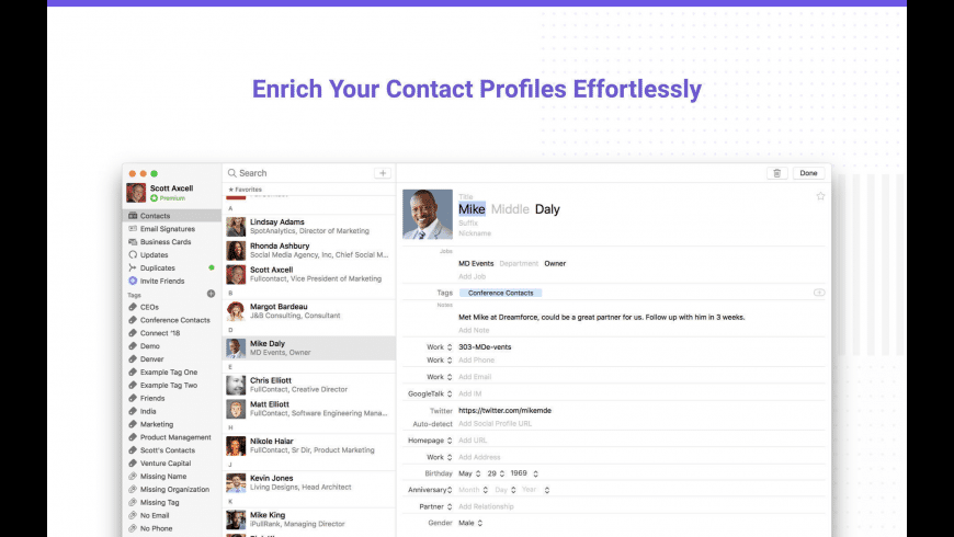 Contacts+ for Mac - review, screenshots