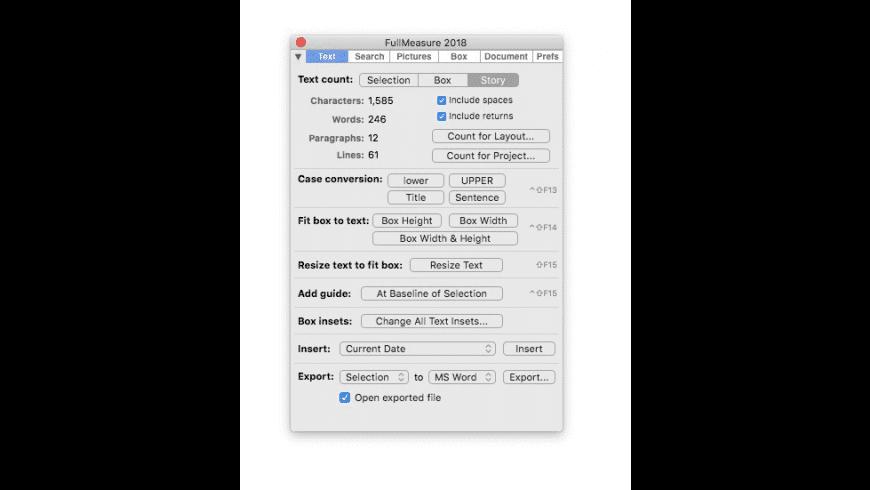 Badia FullMeasure for QuarkXPress for Mac - review, screenshots