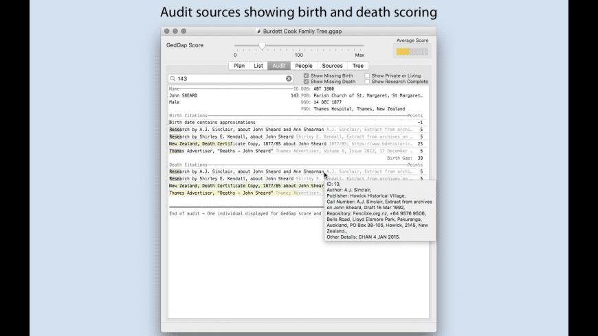 GedGap for Mac - review, screenshots