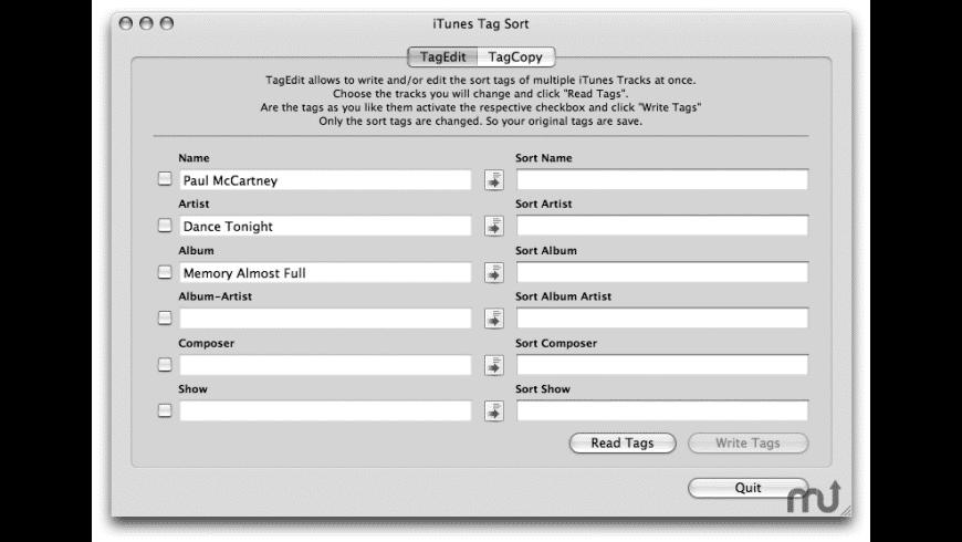 iTunes Tag Sort for Mac - review, screenshots