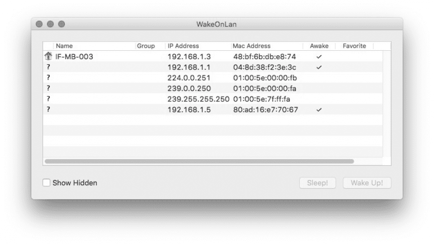 WakeOnLan for Mac - review, screenshots