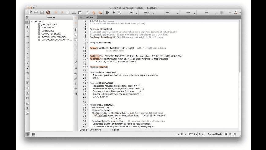 TeXstudio for Mac - review, screenshots