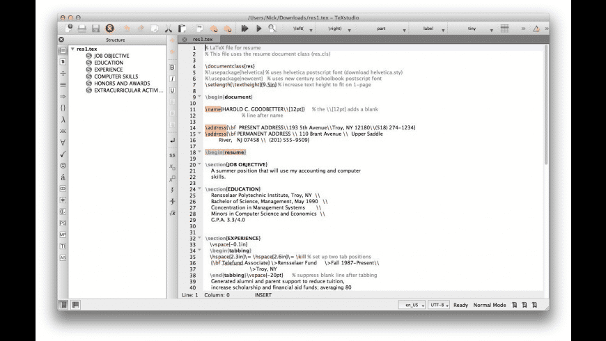 TeXstudio for Mac - review, screenshots