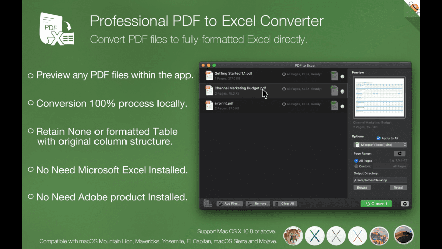PDF to Excel Converter for Mac - review, screenshots