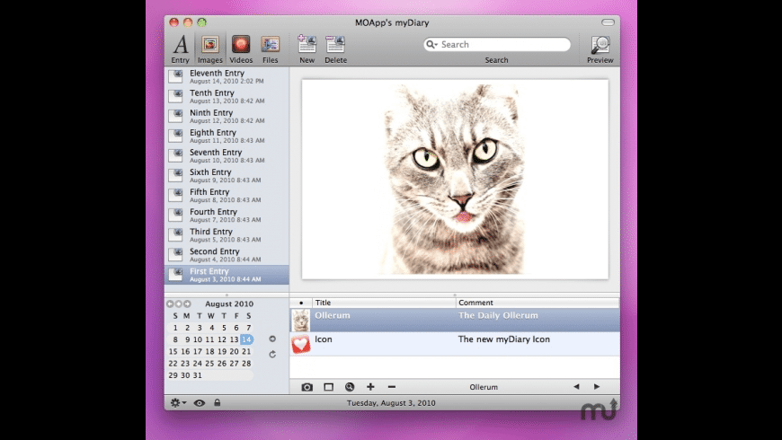 myDiary for Mac - review, screenshots