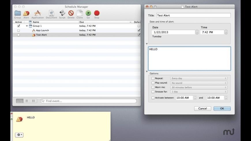 Scheduler for Mac - review, screenshots