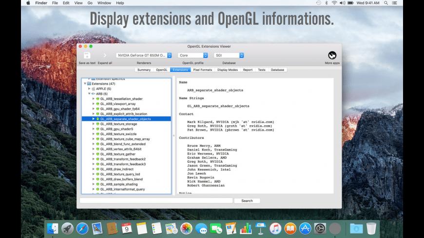 OpenGL Extensions Viewer for Mac - review, screenshots