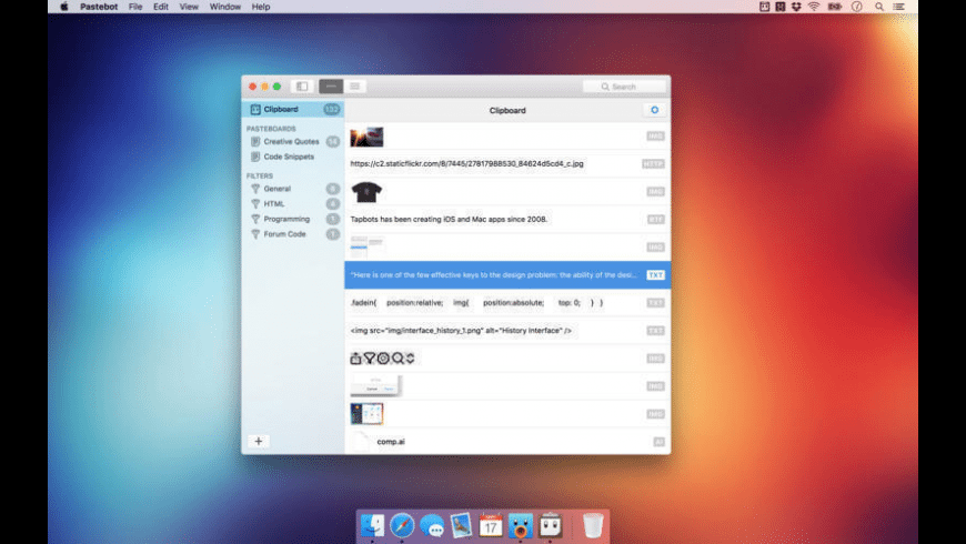 Pastebot for Mac - review, screenshots