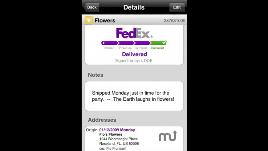 FedEx Mobile for iPhone for Mac - review, screenshots