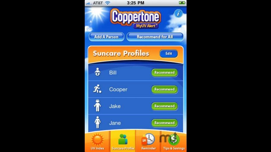Coppertone MyUVAlert for Mac - review, screenshots