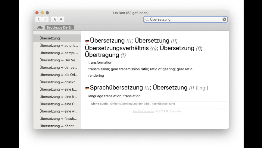 BeoLingus German-English Dictionary Plugin for Mac - review, screenshots