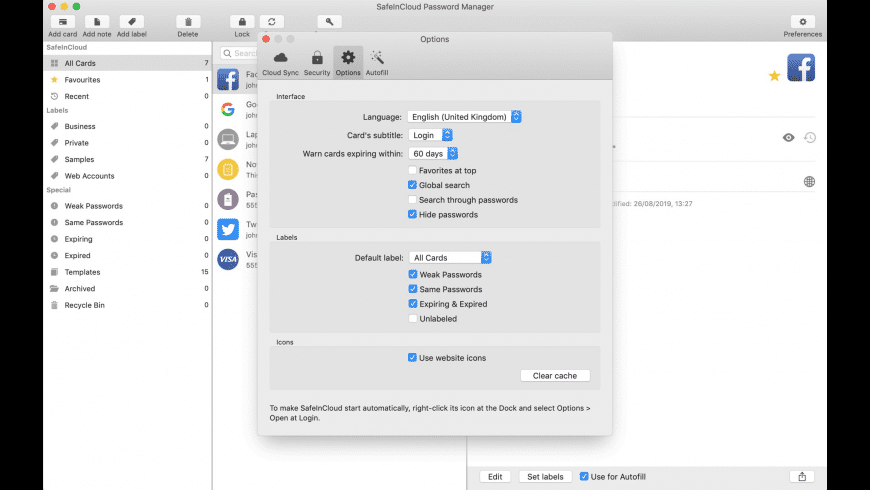 SafeInCloud for Mac - review, screenshots