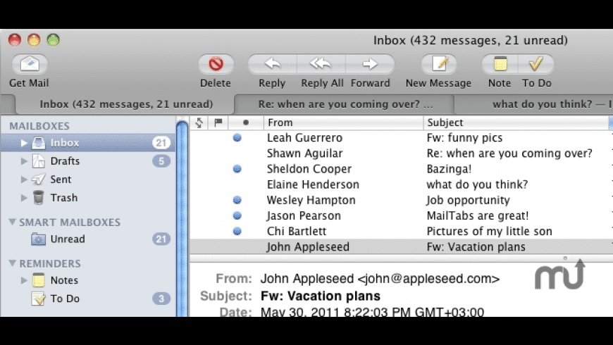 MailTabs for Mail for Mac - review, screenshots