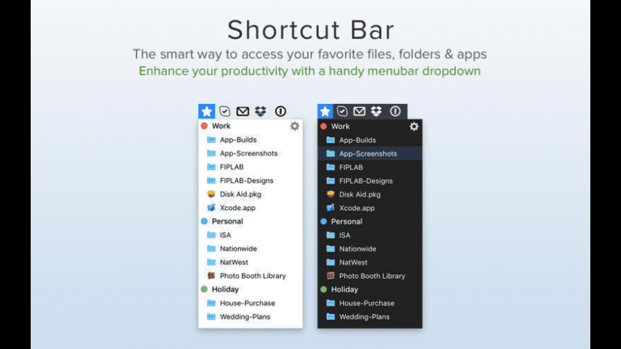 Shortcut Bar for Mac - review, screenshots