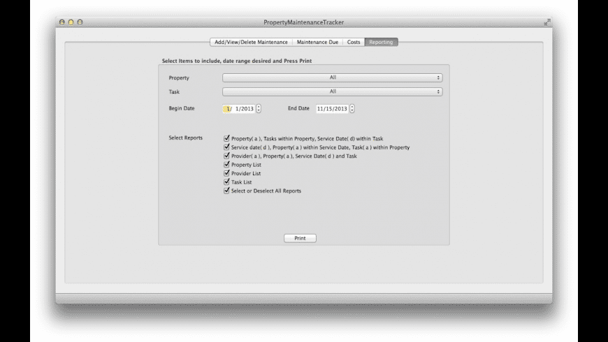 PropertyMaintenanceTracker for Mac - review, screenshots