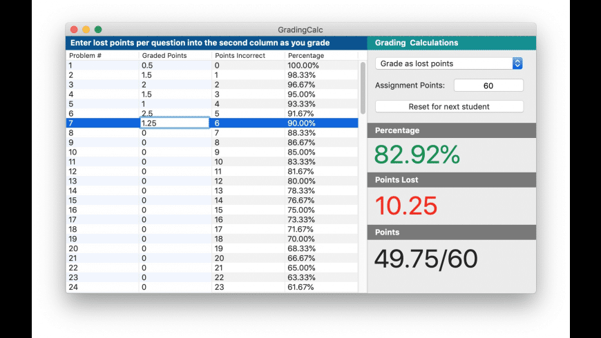 GradingCalc for Mac - review, screenshots