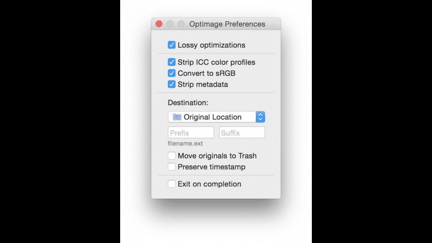 Optimage for Mac - review, screenshots