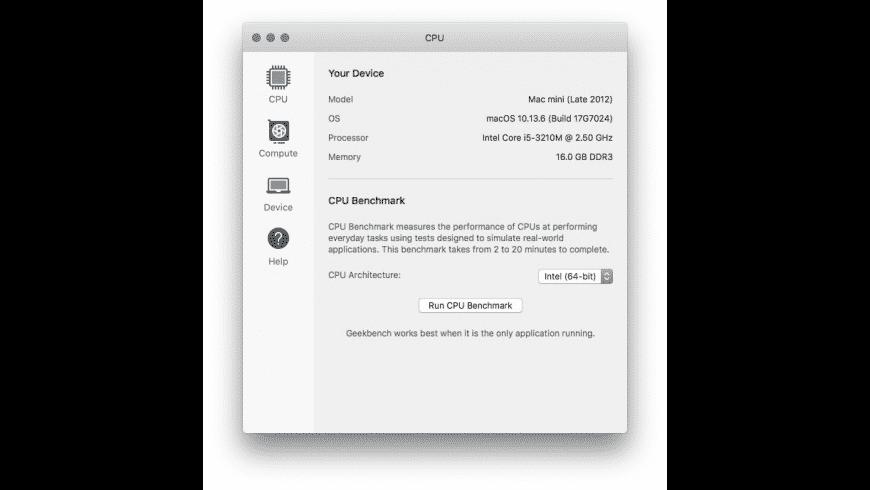 Geekbench for Mac - review, screenshots