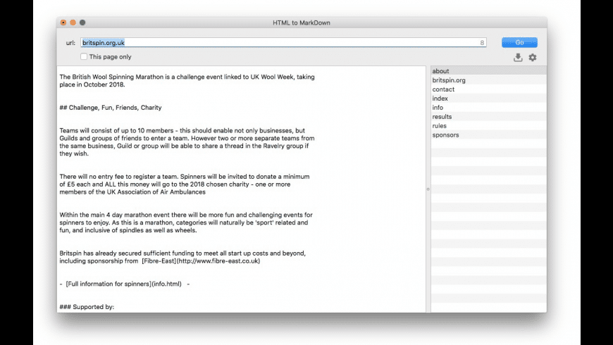 HTMLtoMD for Mac - review, screenshots