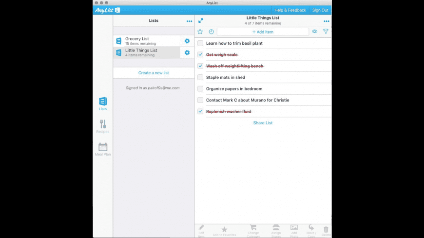 AnyList for Mac - review, screenshots