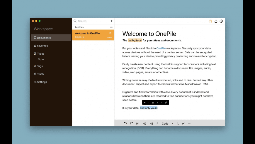 OnePile for Mac - review, screenshots