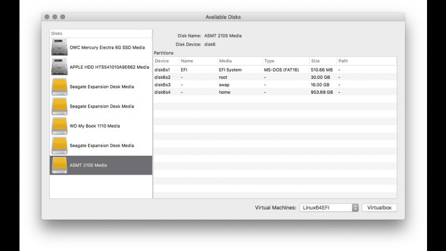 VBoxRawdisk for Mac - review, screenshots