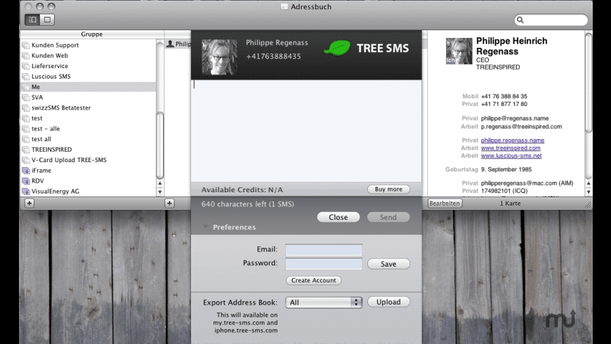 TREE-SMS Address Book Plug-In for Mac - review, screenshots