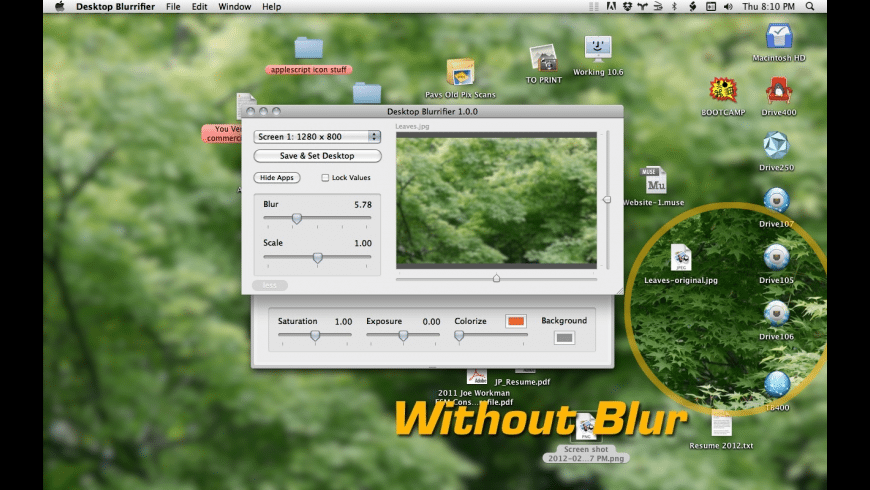 Desktop Blurrifier for Mac - review, screenshots