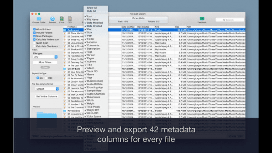 File List Export for Mac - review, screenshots