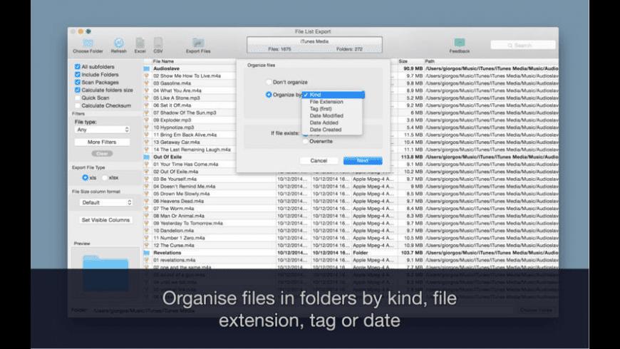 File List Export for Mac - review, screenshots