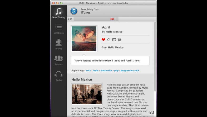 Last.fm Scrobbler for Mac - review, screenshots