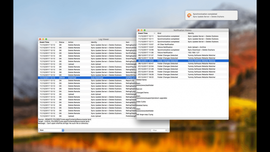 Yummy FTP Watcher for Mac - review, screenshots