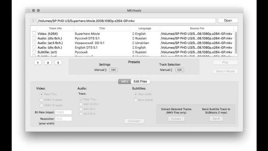 MKVtools for Mac - review, screenshots