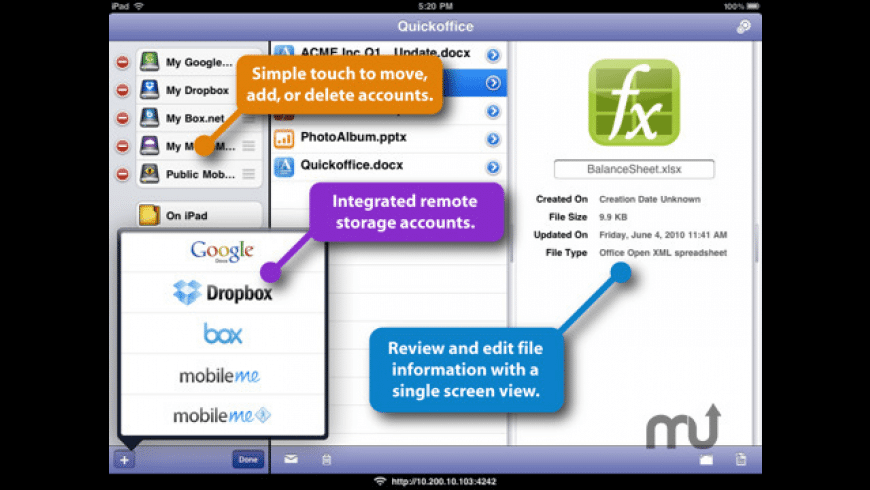 Quickoffice Connect Mobile Suite for iPad for Mac - review, screenshots