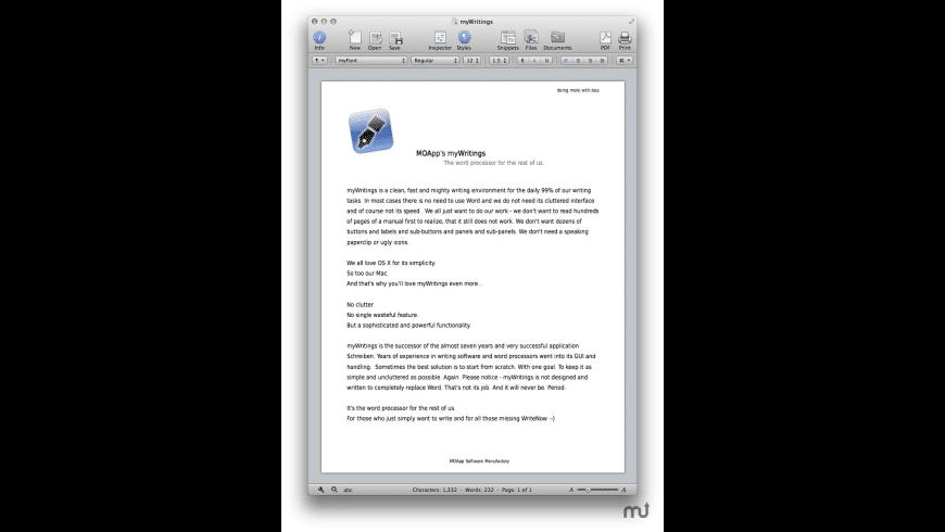 myWritings for Mac - review, screenshots