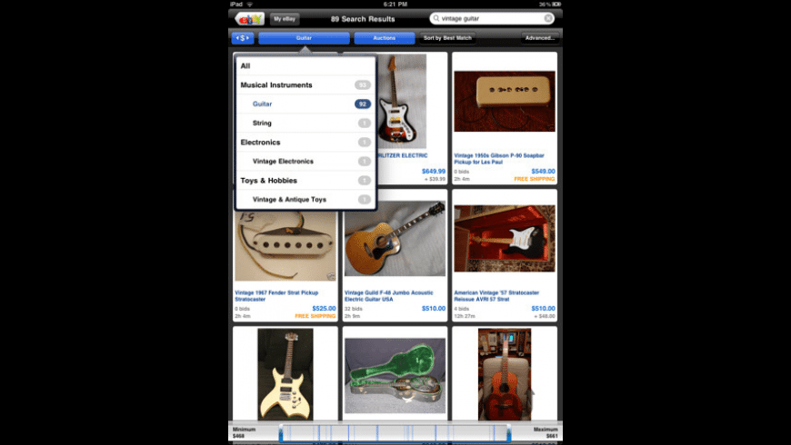 eBay for iPad for Mac - review, screenshots