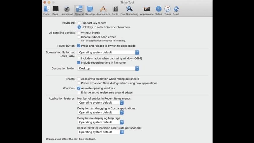 TinkerTool for Mac - review, screenshots