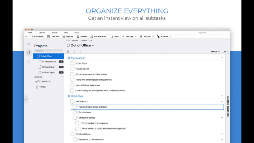 Organize:Me for Mac - review, screenshots