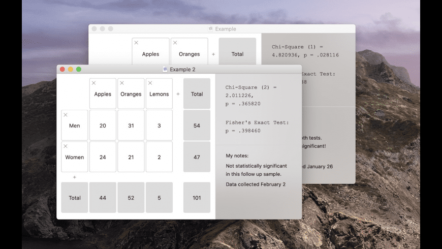 Easy Chi Square Calculator for Mac - review, screenshots