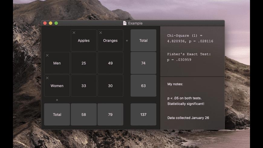 Easy Chi Square Calculator for Mac - review, screenshots