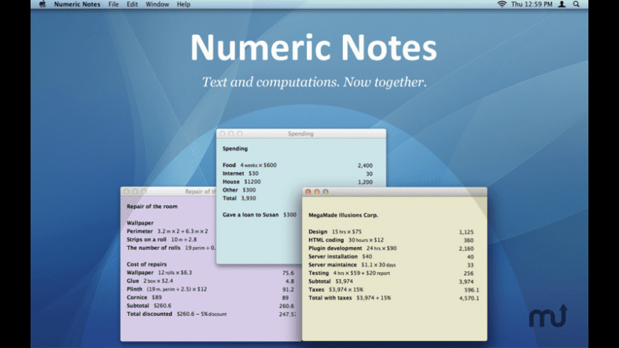 Numeric Notes for Mac - review, screenshots