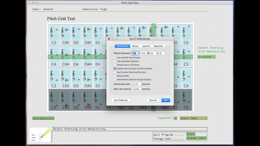 Pitch Grid Test for Mac - review, screenshots
