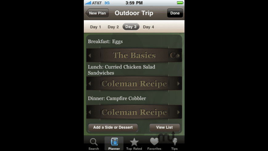 Classic Camping Cookbook & Meal Planner for Mac - review, screenshots