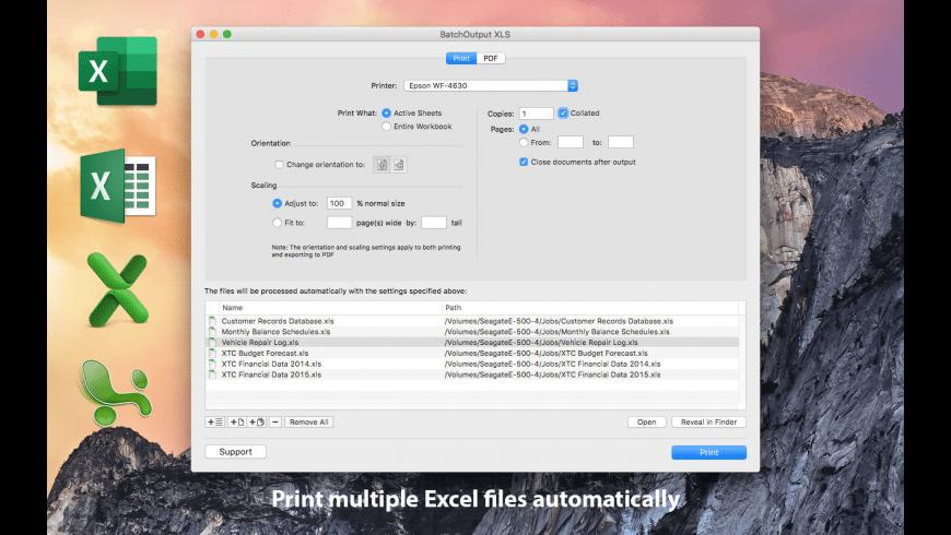 BatchOutput XLS for Mac - review, screenshots